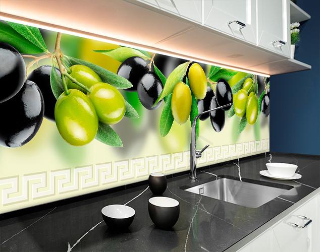 Кухонный фартук оливки, ветки маслины, размытый фон Самоклейка 60 x 200 см