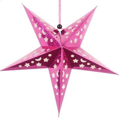 Звезды объемные для декора  25 см., малиновая