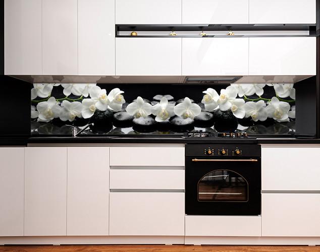 Фартук для кухни ветки орхидеи на гладких камнях белые цветы (кухонный фартук, скинали) Самоклейка 60 x 200 см