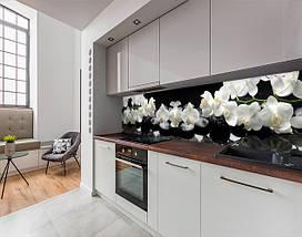Фартук для кухни ветки орхидеи на гладких камнях белые цветы (кухонный фартук, скинали) Самоклейка 60 x 200 см, фото 2