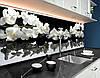 Фартук для кухни ветки орхидеи на гладких камнях белые цветы (кухонный фартук, скинали) Самоклейка 60 x 200 см, фото 3
