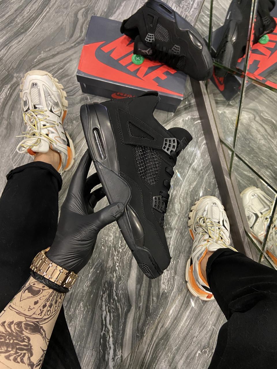 Мужские кроссовки Nike Air Jordan 4 Retro Black Cat. (Чёрный). [Размеры в наличии: ]