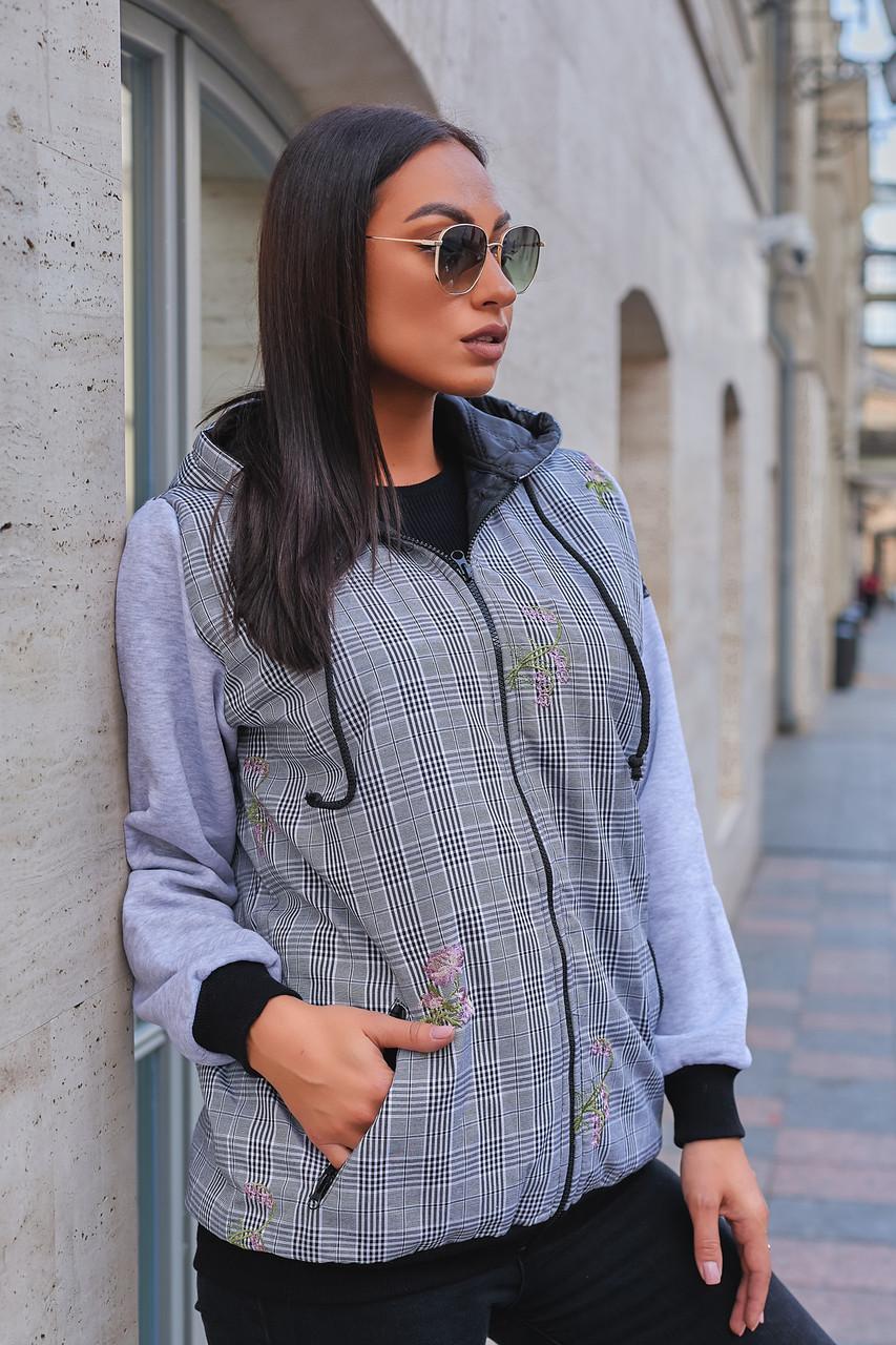 Женская утепленная джинсовая куртка на синтепоне + трикотаж трехнитка с начесом, размеры 48-54