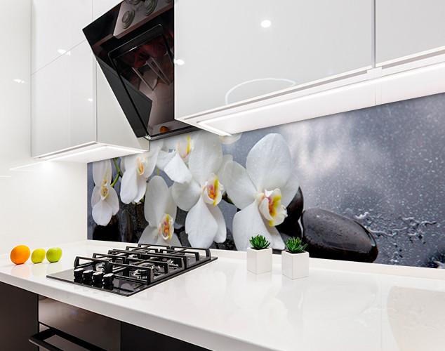 Кухонный фартук ветка орхидеи, черный камень, роса Самоклейка 60 x 200 см