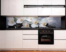 Кухонный фартук ветка орхидеи, черный камень, роса Самоклейка 60 x 200 см, фото 3