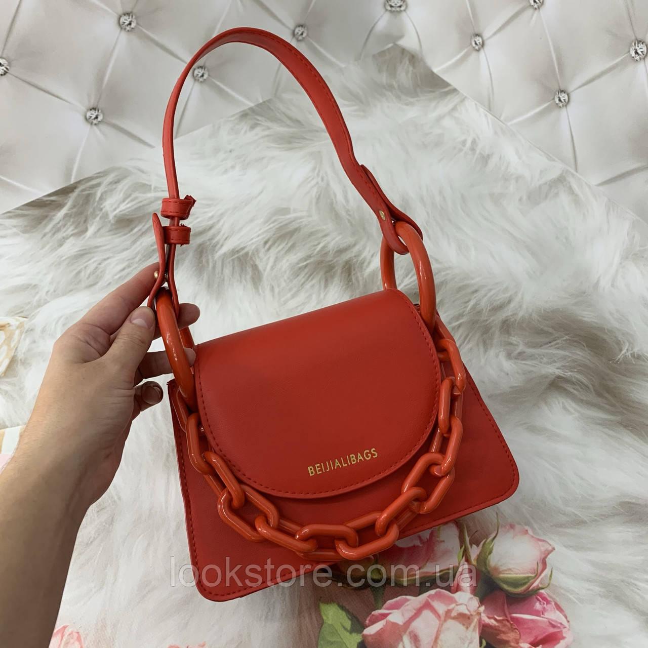 Маленькая женская сумка с толстой акриловой цепью BEIJIALIBAGS красная