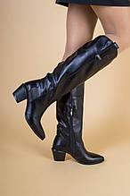 Зимние женские черные кожаные сапоги