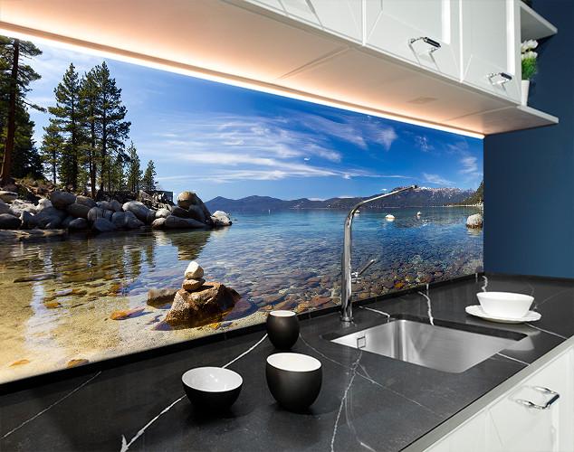 Скинали с фотоизображением лазурный берег, камни, горы, природа Самоклейка 60 x 200 см
