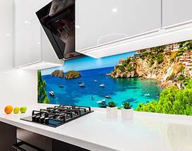 Кухонный фартук яхты, океан, природа, скалы, бирюзовая вода Самоклейка 60 x 200 см, фото 2