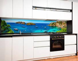 Кухонный фартук яхты, океан, природа, скалы, бирюзовая вода Самоклейка 60 x 200 см, фото 3
