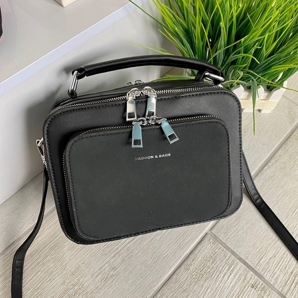 Жіноча сумка Fashion & Bags з велюром чорна СФВ24