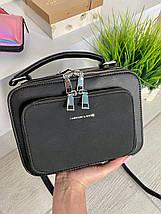Жіноча сумка Fashion & Bags з велюром чорна СФВ24, фото 3