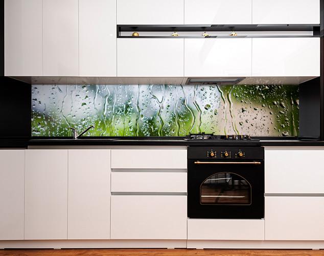 Скинали с фотоизображением капли дождя на стекле, вода, абстракция Самоклейка 60 x 200 см