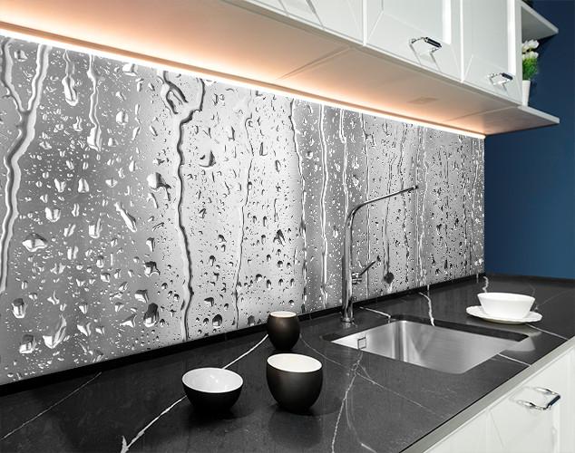 Фартук для кухни капли дождя на стекле, вода, серый фон Самоклейка 60 x 200 см