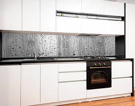 Фартук для кухни капли дождя на стекле, вода, серый фон Самоклейка 60 x 200 см, фото 2