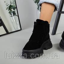 Ботинки женские замшевые черные на липучках зимние, фото 2