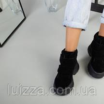 Ботинки женские замшевые черные на липучках зимние, фото 3