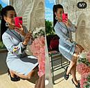 Женское теплое вязаное платье с вышивкой серое, фото 3