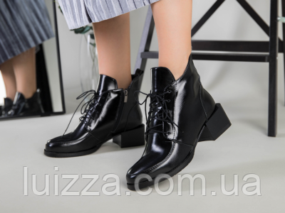 Ботинки женские кожа наплак черные на небольшом каблуке зимние