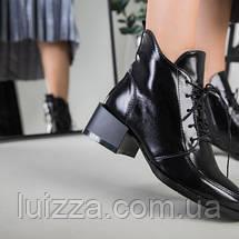 Ботинки женские кожа наплак черные на небольшом каблуке зимние, фото 2