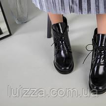 Ботинки женские кожа наплак черные на небольшом каблуке зимние, фото 3