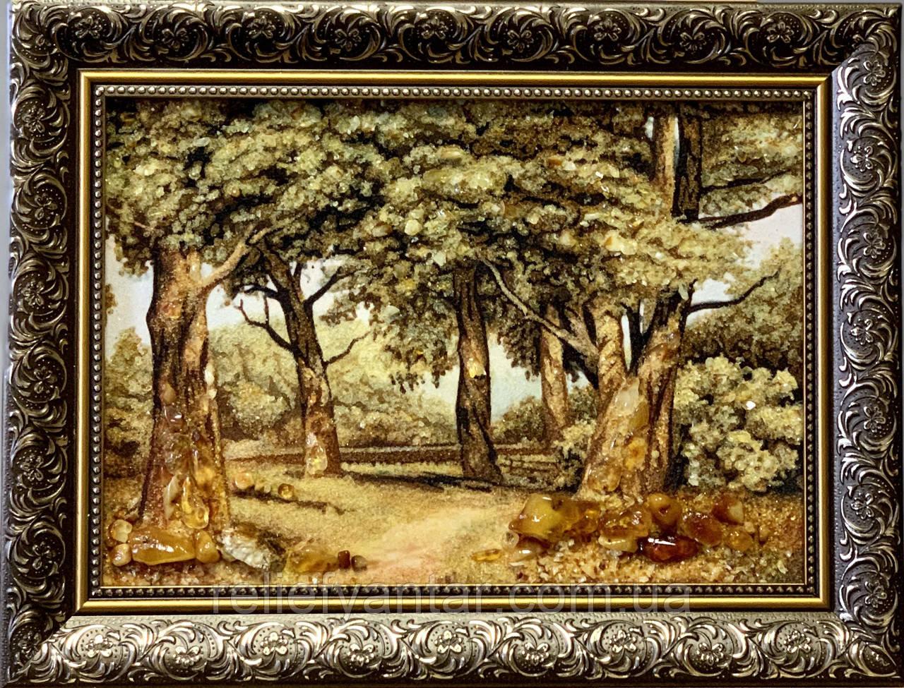 """Картина пейзаж из янтаря """"Дубы """" 20x30 см"""
