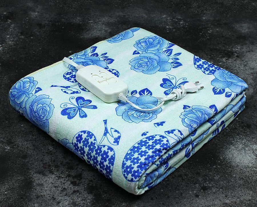 Электропростынь двухспальная Lux Electric Blanket Blue Flowers 140x155 см