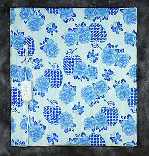 Электропростынь двоспальне Lux Electric Blue Blanket Flowers 140x155 см, фото 2