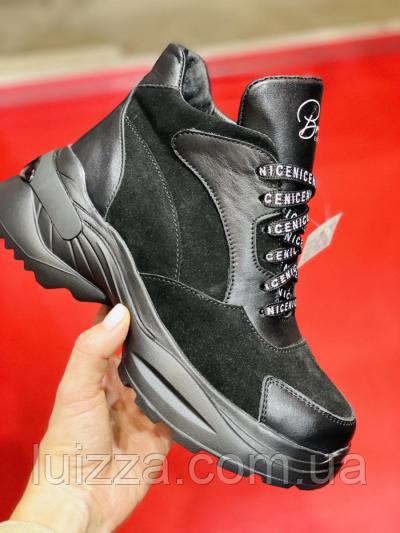 Ботинки женские кожаные черные с вставками замши, зимние