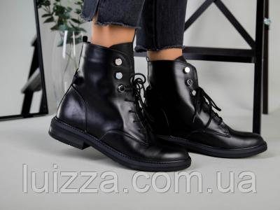 Ботинки женские кожаные черные, на шнурках, зимние