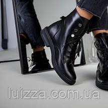Ботинки женские кожаные черные, на шнурках, зимние, фото 2