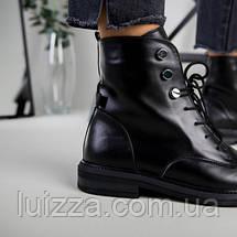 Ботинки женские кожаные черные, на шнурках, зимние, фото 3