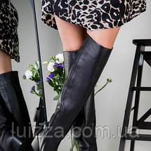 Ботфорты женские кожаные черные на каблуке зимние, фото 2