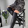 Ботфорты женские кожаные черные на каблуке зимние, фото 4