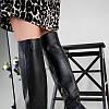 Ботфорты женские кожаные черные на каблуке зимние, фото 5