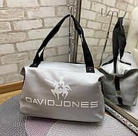 Небольшая дорожная сумка спортивная брендовая серебро кожзам, фото 1