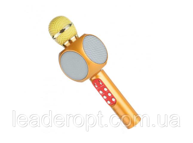 ОПТ Беспроводной караоке микрофон колонка со цветомузыкой SQone 1816 Золотой