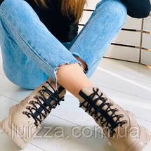 Женские зимние бежевые кожаные ботинки, фото 3