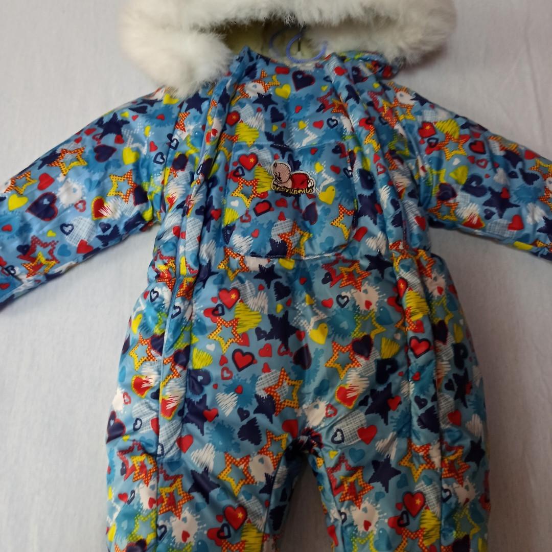 Комбинезон зимний для новорожденных на меху. В комплект входят рукавички .