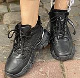 Кроссовки зимние женские черные, фото 5