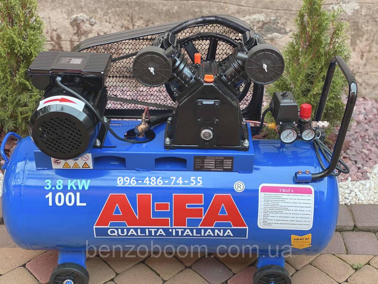 Компрессор воздушный Al-Fa ALC100-2R масляный 100л 660л/мин ременной