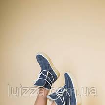 Женские зимние серые замшевые угги на шнуровке, 36, фото 2