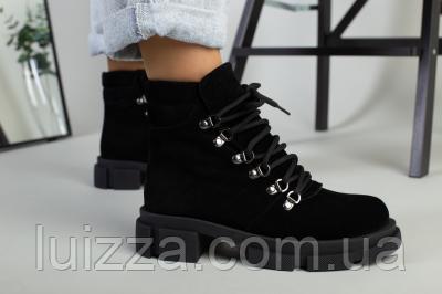 Ботинки женские замшевые черные на шнурках демисезонные, фото 2