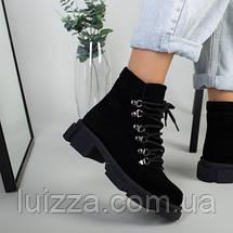 Ботинки женские замшевые черные на шнурках демисезонные, фото 3
