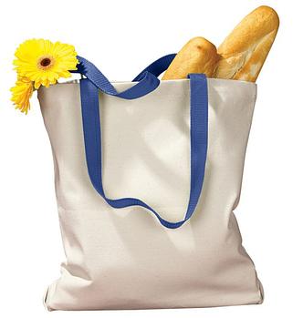 Еко сумка для сублімації 34х39см. з синьою ручкою