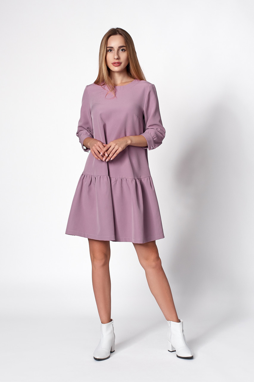 Женское свободное платье лилового цвета