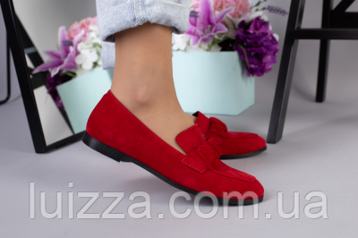 Туфли женские замшевые красные на низком ходу, фото 2