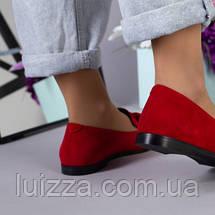 Туфли женские замшевые красные на низком ходу, фото 3