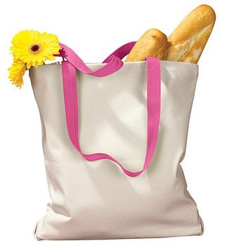 Еко сумка для сублімації 34х39см. з рожевою ручкою