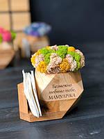 Салфетница со стабилизированным мхом шестигранная деревянная Оригинальный подарок декор для дома кафе